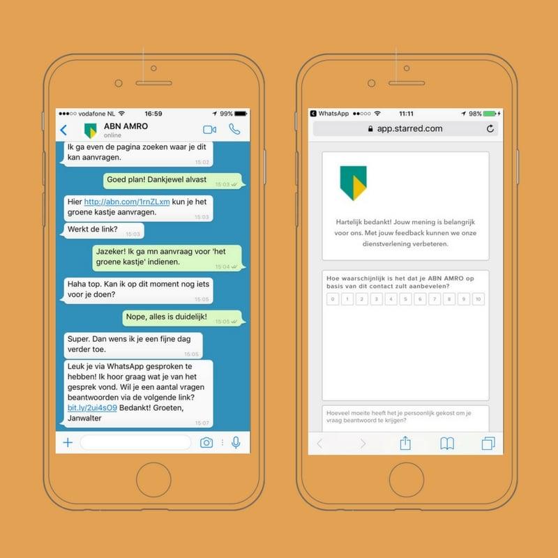 OBI4wan ABN amro klanttevredenheidsonderzoek WhatsApp